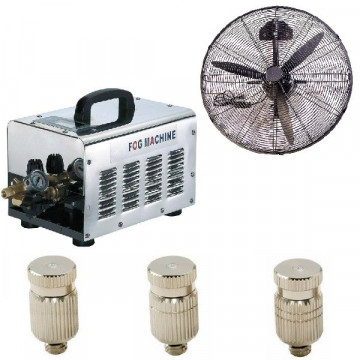 Vonalsoros teraszhűtő rendszer 10 fúvókával 2 párásító ventilátorral 70bár