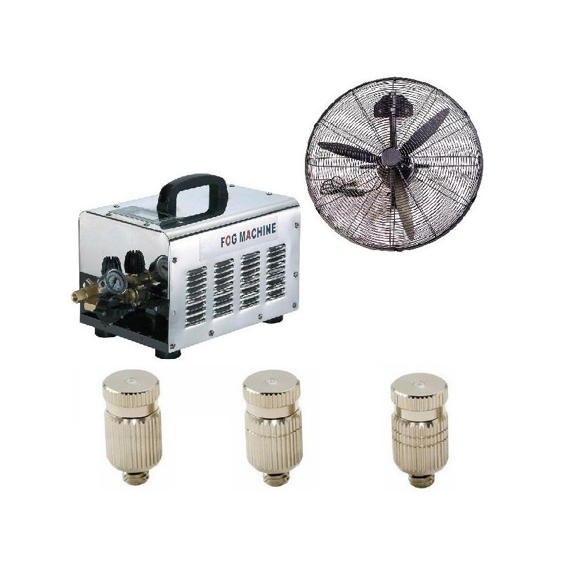 Vonalsoros teraszhűtő rendszer 40 fúvókával 2 párásító ventilátorral 70bár
