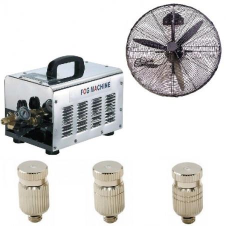 Vonalsoros teraszhűtő rendszer 70 fúvókával 2 párásító ventilátorral 70bár